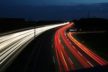 Langzeitbelichtung Autobahn A46 Anschlussstelle Haan Ost