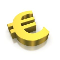 Golden euro currency symbol. 3d rendered image