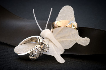 Wedding rings with silk butterfly.