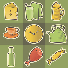 Multicolored food icons