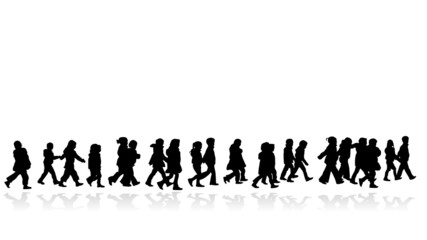 group of kids walking in line silhouette