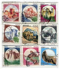 range of italian old stamps