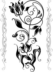 Floral silhouette, suitable for a tattoo