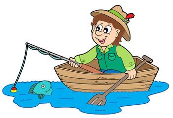 Foto op Plexiglas Piraten Fisherman in boat