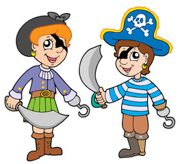Zelfklevend Fotobehang Piraten Pirate boy and girl