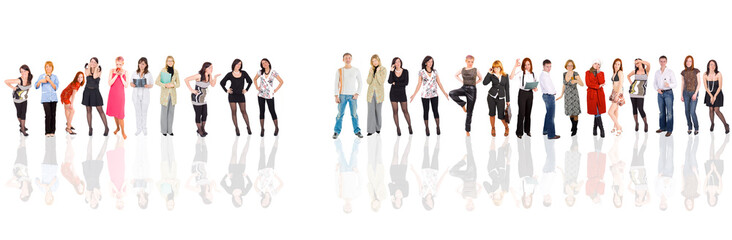 Group of people isolated over white