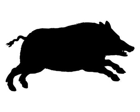 Die schwarze Silhouette eines laufenden Wildschweins