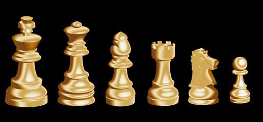 Piezas del ajedrez doradas