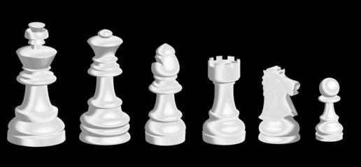 Piezas  del ajedrez plateadas