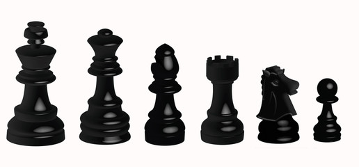 Piezas negras del ajedrez