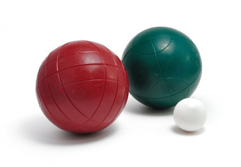 Red and Green Bocce Balls and Pallino (Jack or Boccino)