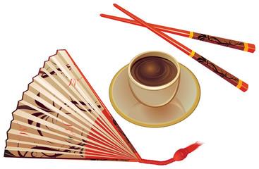 Chopsticks , fan and cup of tea.