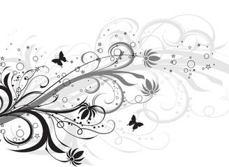 tiges floral noirs et papillons