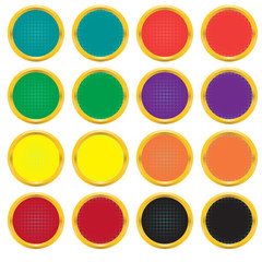 Set of buttons with a gradient grid