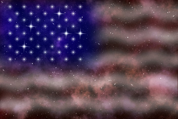 american flag stylized abstract space background