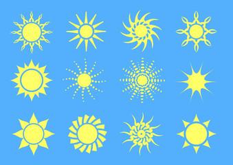 set of twelve simple vector suns