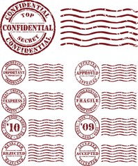 Vector  stamp with red ink