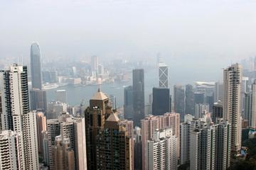 hongkong financial district coverd in heavy haze in winter