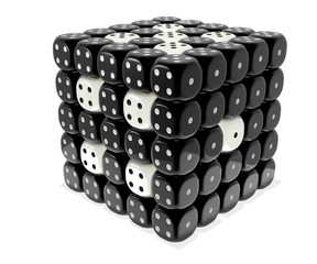 Dice cluster - Black n white plastic