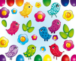 Wall Murals Birds, bees Funny easter background