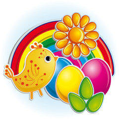 Photo sur Plexiglas Oiseaux, Abeilles Cute little chicken with the bright easter eggs
