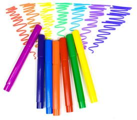 Color felt-tip pens on a background