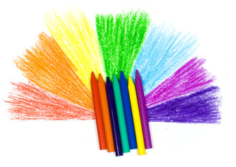 Bright children's wax pencils