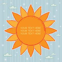 big orange sun with copy space