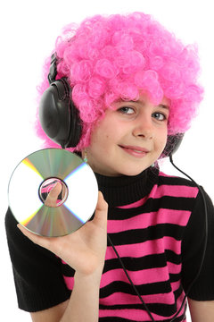Young girl with CD