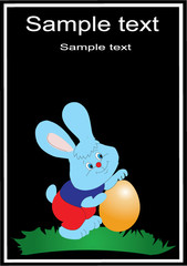 vectorial blue easter rabbit in a shirt with an orange egg