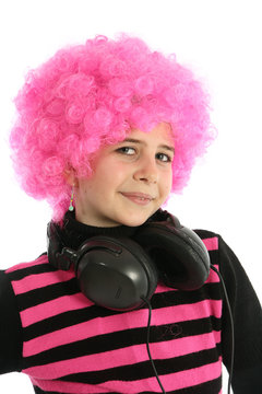 Young girl portrait with headphones