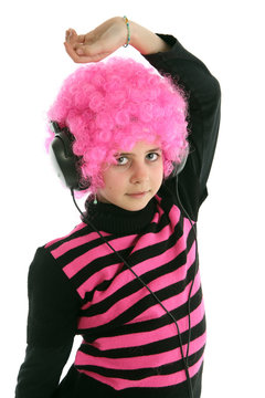 Young girl  with pink hair dancing