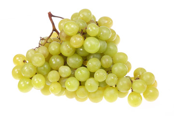 Green grapes on white.