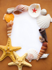 Frame with seashells