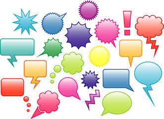 Colourful speech bubbles and label icons