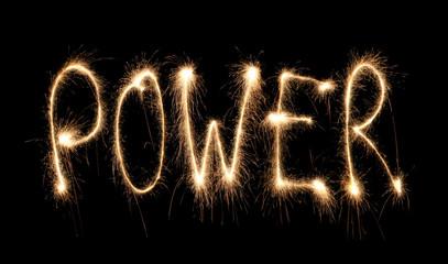 Word power written sparkler.