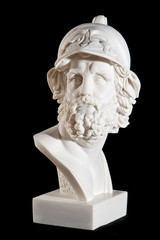 Classical marble white Zeus Bust isolated on black