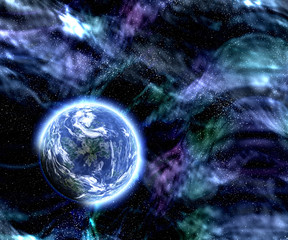 space planet scene