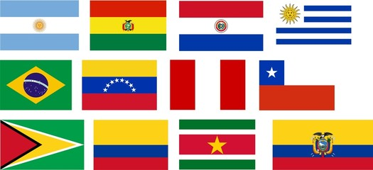 Flags of all South America countries.
