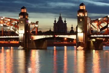Russia. Petersburg. Peter the Great Bridge