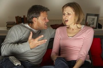 Couple Discussing Choice Of Television Channel
