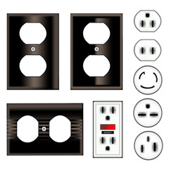 Electrical outlet faceplate and plug - vector set in black