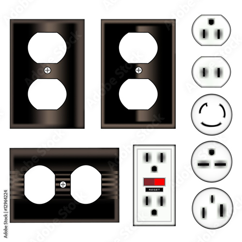 Electrical Outlet Faceplate And Plug Vector Set In Black Stock