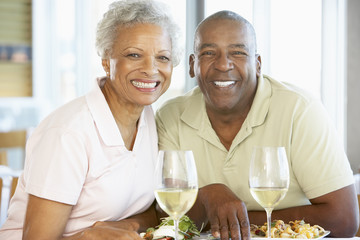 Senior Couple Having Lunch Together At A Restaurant