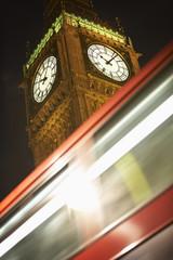 Double Decker Bus Speeding Past Big Ben, London, England