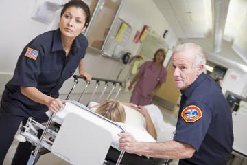 Paramedics Rushing Emergency Patient Into Hospital