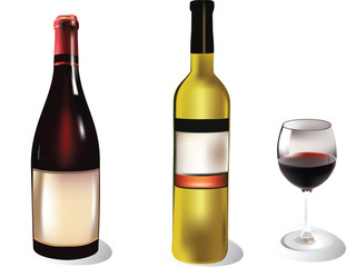 two wine bottles with a wine glass