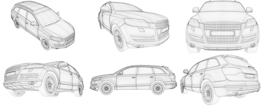 3D wire-frame car HD