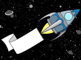Rocket in Space with blank banner