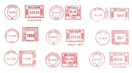 italy: red post stamps background